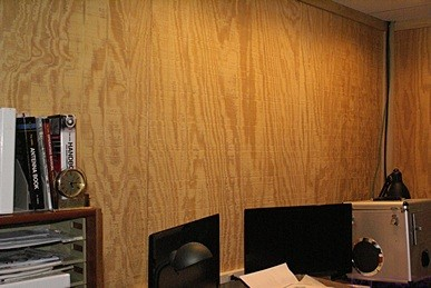 The north wall of the ham shack/office.  This is where the ZioTek wall-mounted monitor mounting system will go.