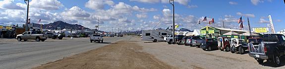 Kuehn Street market area looking west towards Central Avenue (US-95).  Quartzsite, AZ.