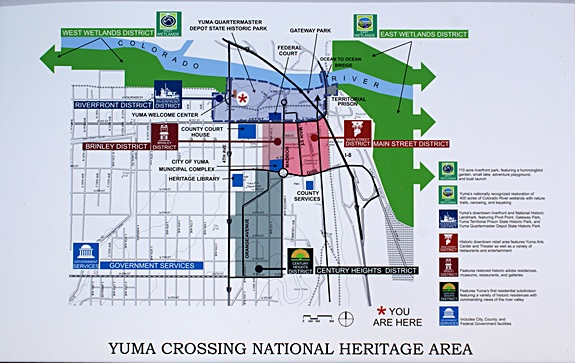 Map of the Yuma, AZ downtown / historic area.