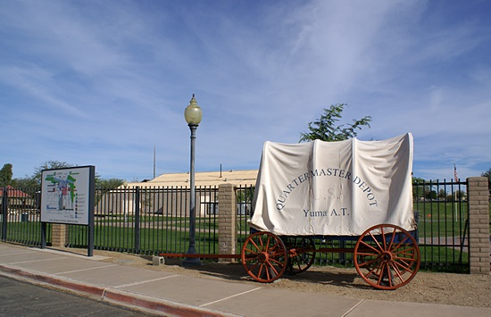 "Historic Quartermaster Depot State Park.  Note that the cover of the wagon says ""AT"" (Arizona Territory)."