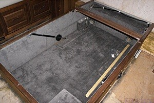 The storage base for the bed with the plywood platform removed.