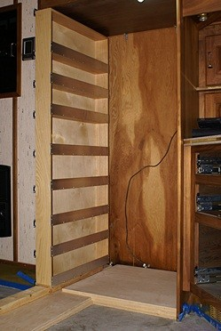 The pantry supported by plywood and 2x4s.