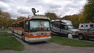 Bill and Karen Gerrie's 1965 GMC transit bus conversion.  They estimate that it will turn 1,000,000 miles in 2015.