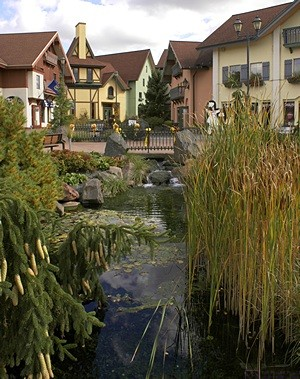 The River Place shopping complex in Frankenmuth, Michigan.  It's built to look like a small Bavarian village center.