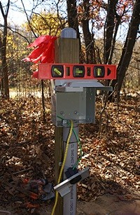 RV electrical outlet box on top of riser post with level on top.