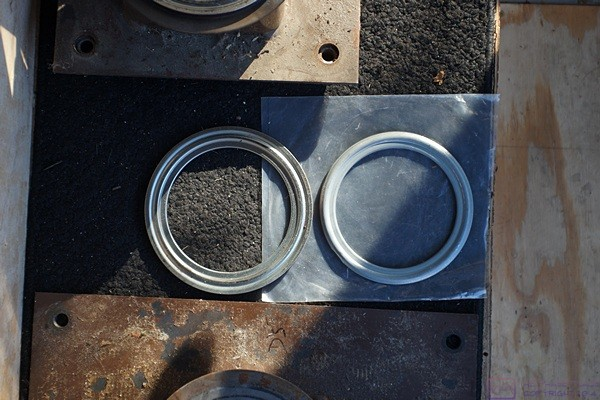 One of the old swivel bearings (L) and one of the new swivel bearings (R).  The new one is obviously smaller than the old one and was not compatible with our pedestals and power bases.