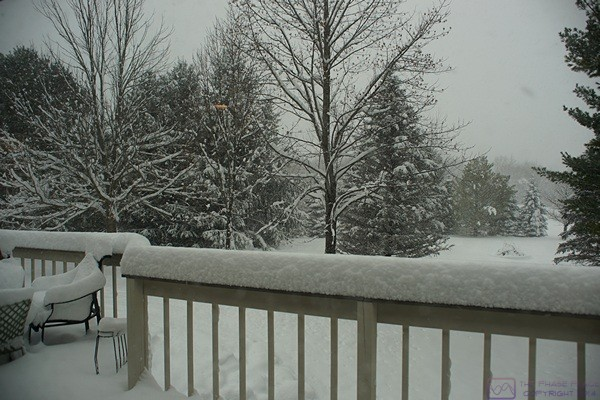 Snowstorm in progress.  Lots of snow on the rear deck and still coming down.