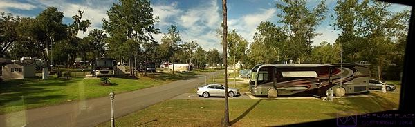 A panoramic view looking north into part of Williston Crossings RV Resort from the passenger side living room window of our motorcoach.