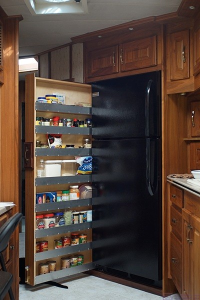 The new pull-out pantry shown in nice light.