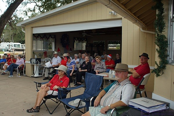 Linda and Al waiting for the music jam to start at Breezy Oaks RV Park.