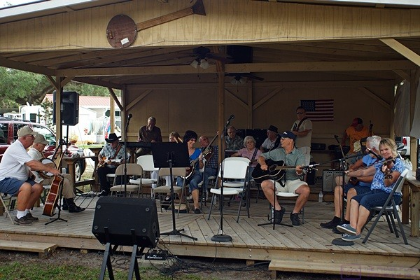 The musicians gather on stage for the Thursday afternoon jam session.