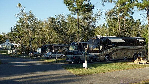 A view of our coach looking north at Williston Crossings RV Resort.
