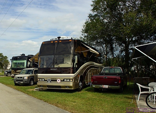 Our bus in its winter 2016 home on site K2 at Big Tree Carefree RV Resort in Arcadia, FL.