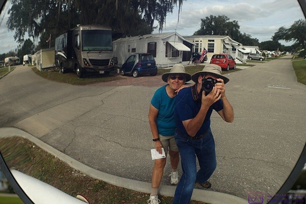 Self-portrait in a wide angle traffic mirror.  (Big Tree RV Resort, Arcadia, FL)