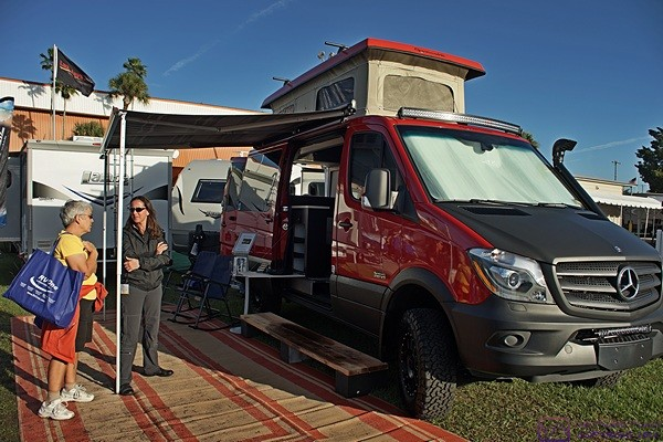 Now that's what I'm talking about!  We have got to get one of these.  A 4-wheel drive, Sprinter-based Class B conversion from Sportsmobile as seen at the Tampa RV Supershow, Tampa State Fairgrounds, Tampa, FL.