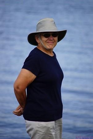 Linda at the shore of Lake Okeechobee, FL.