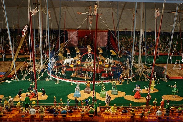 A small piece of the enormous Tibbels miniatures circus model at the Ringling Museum complex, Sarasota, FL.