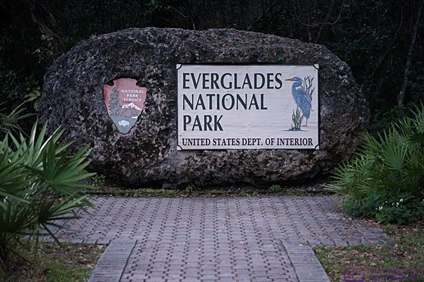 Everglades National Park entrance sign on the road from Homestead and Florida City, FL.