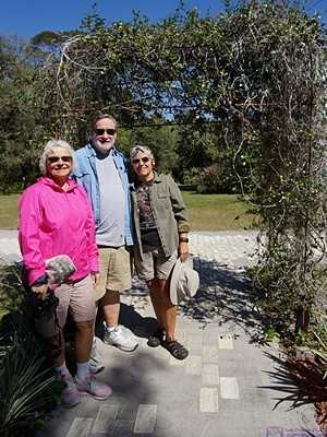 Mara, Michael, and Linda on the grounds of Solomon's Castle.  Ono, FL.