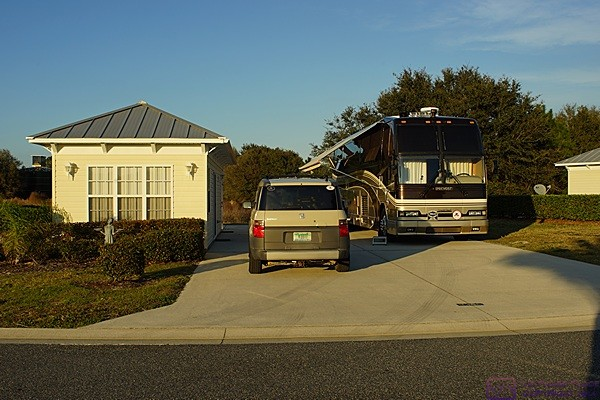 View looking northeast at our H3-40 in site #230 at Florida Grande Motorcoach Resort, Webster, FL.