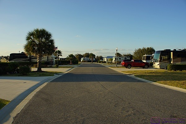 View looking north from in front of site #230 at Florida Grande Motorcoach Resort, Webster, FL.